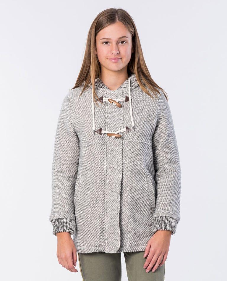 Girl Denny Longline Fleece Jacket in Ecru Marle