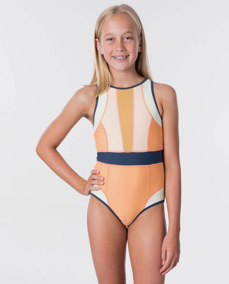 Girl Surf Revival One Piece Swimsuit in Orange