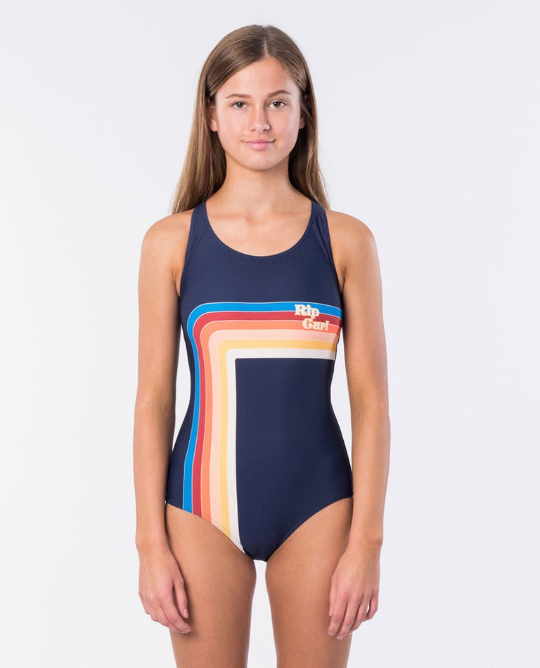 Girl Keep On Surfin One Piece Swimsuit in Navy