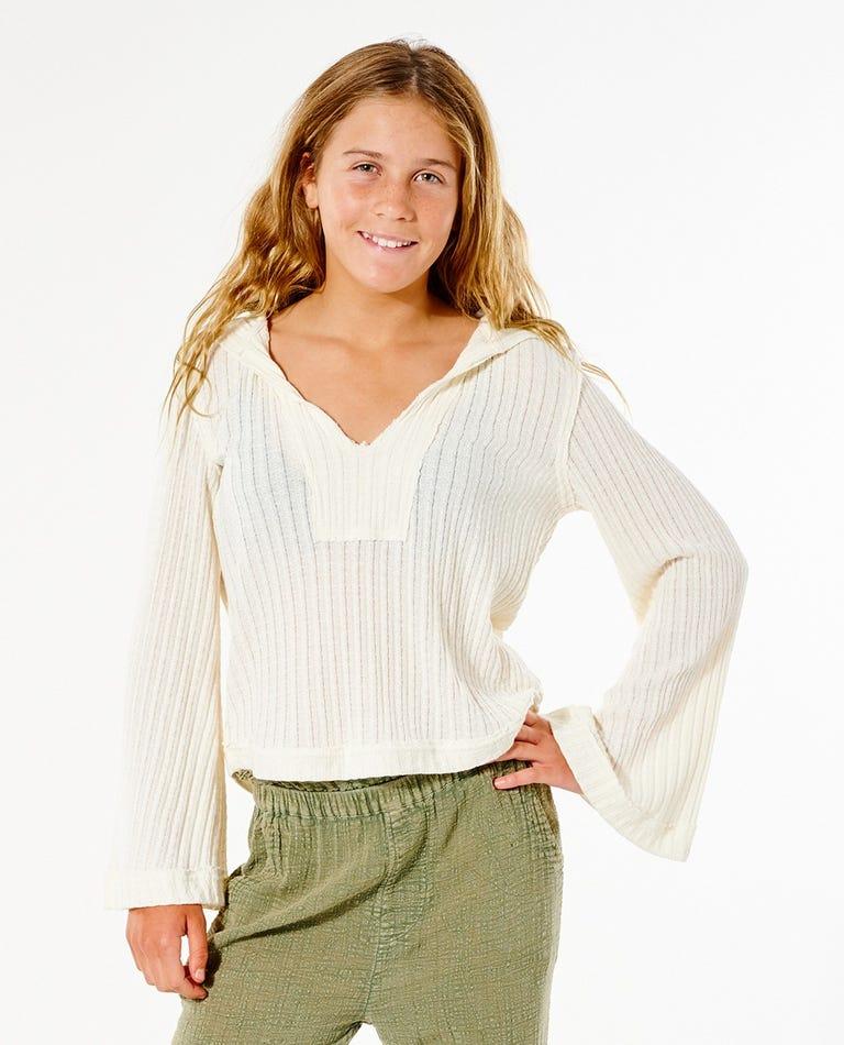 Azure Hooded Long Sleeve Tee - Girl (8-16 years) in Bone