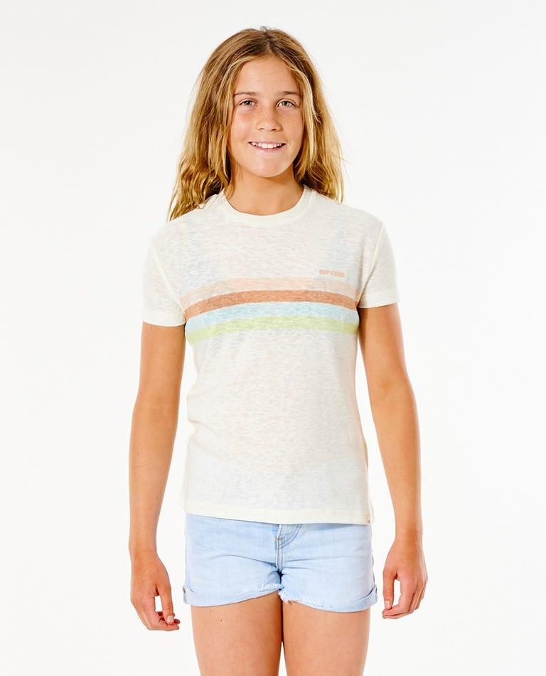 Twin Fin Stripe Tee - Girl (8-16 years) in Bone