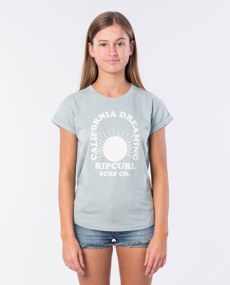 Girl Dreamin Cotton Tee in Blue Grey
