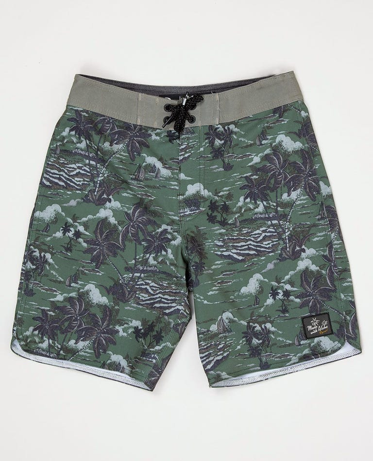 Boy's Mirage Tropical Breeze Boardshorts in Military Green