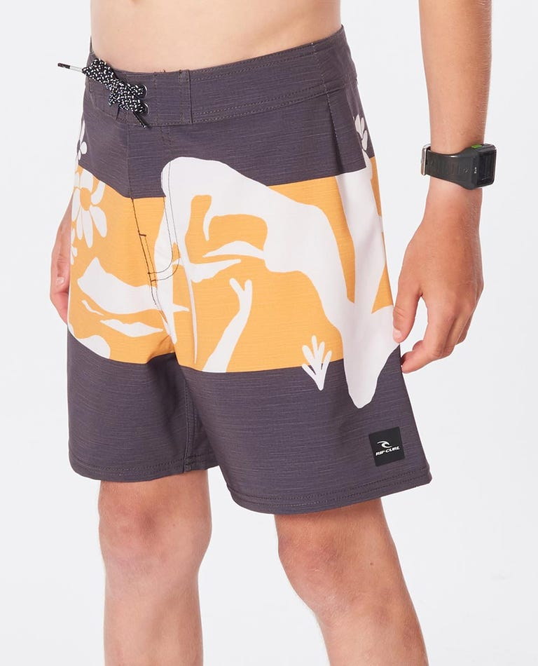 Boys Mirage Owen Saltwater Culture Boardshorts in Washed Black