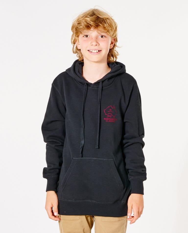 Narrabeen Classic Hood - Boys (8 - 16 years) in Black