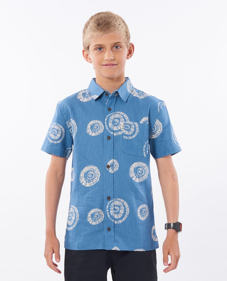 Boys Saltwater Short Sleeve Shirt in Dusty Blue