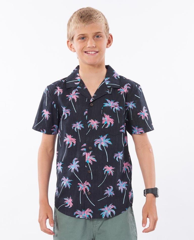 Boys Shipwrecks Short Sleeve Shirt in Black