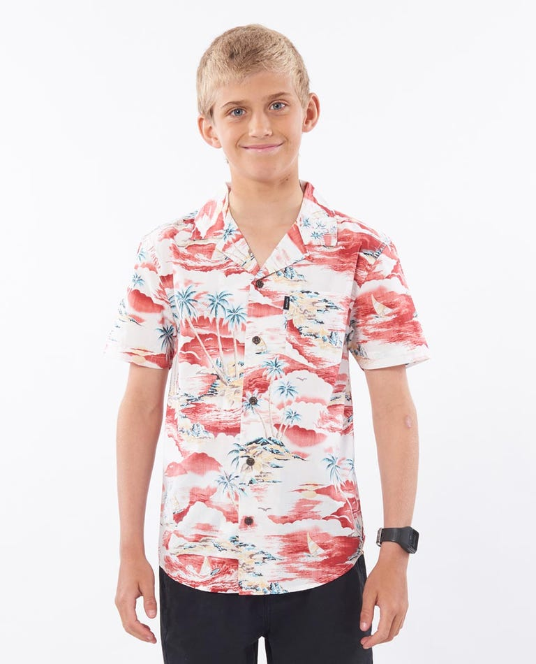 Boys Shipwrecks Short Sleeve Shirt in Light Grey