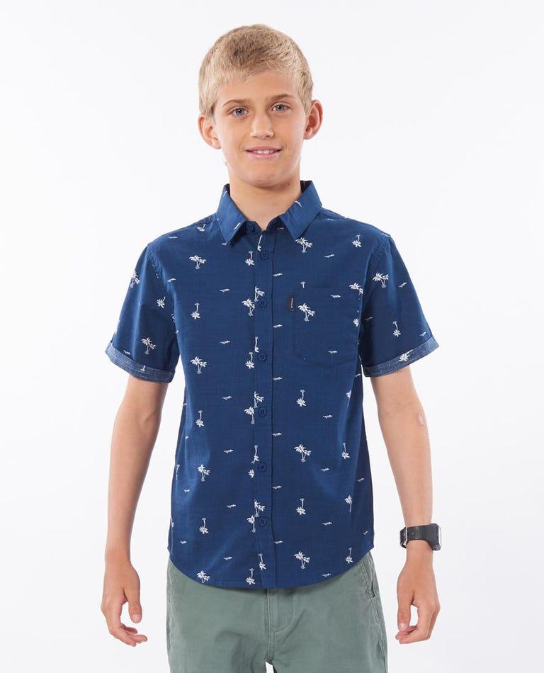 Boys Summer Palm Short Sleeve Shirt in Navy