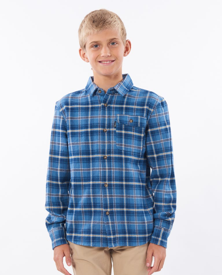 Boys Saltwater Culture Long Sleeve Shirt in Navy