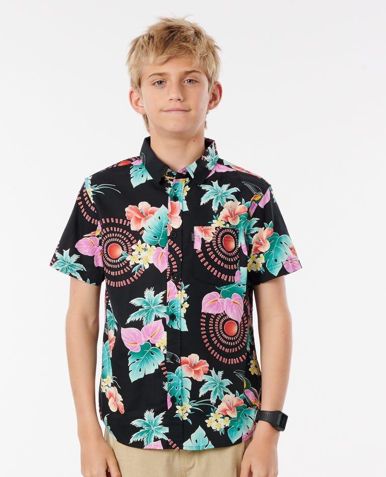 Boys Beach Party Short Sleeve Shirt in Black