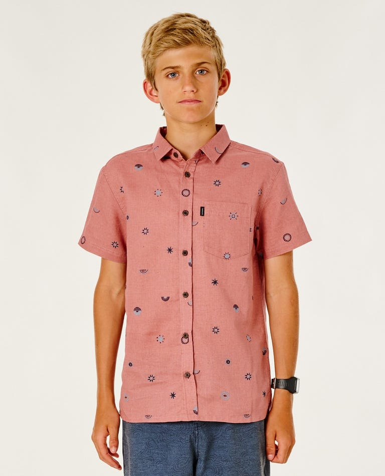 SWC Valley Short Sleeve Shirt - Boy (8-16 years) in Washed Wine