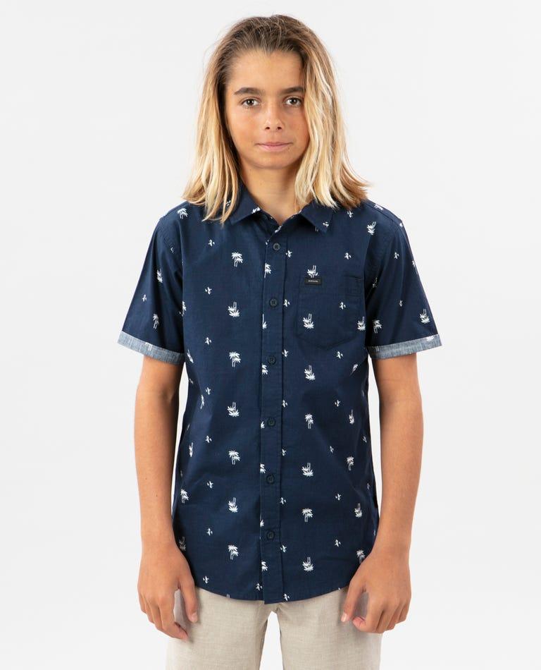 Palm Days Short Sleeve Shirt - Boys in Navy