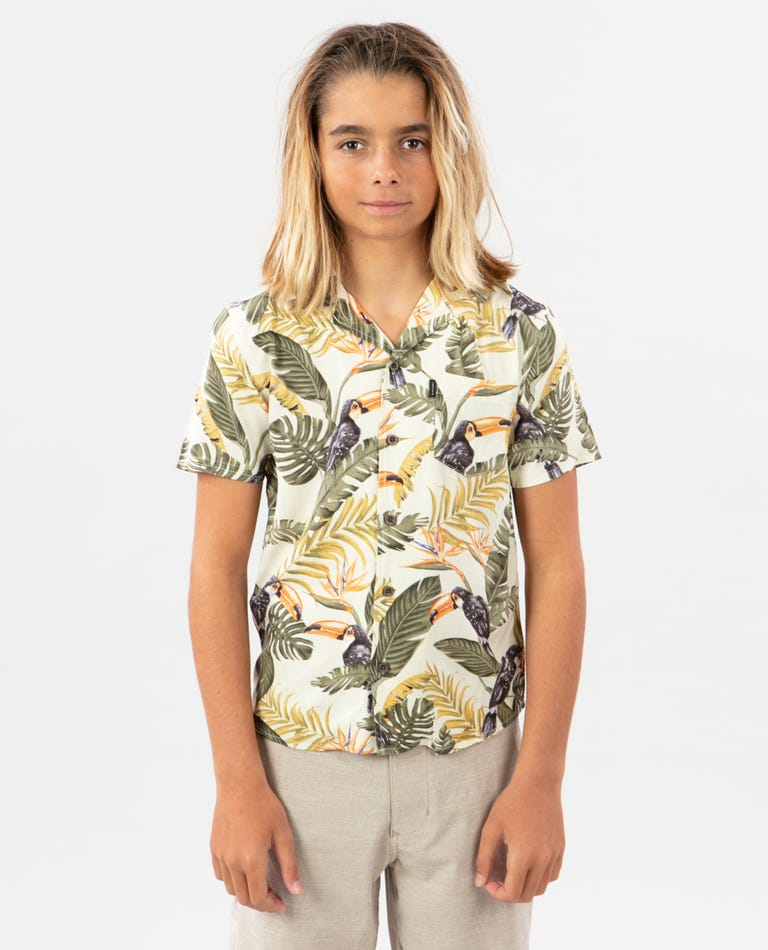 Vacation Short Sleeve Shirt - Boy in White