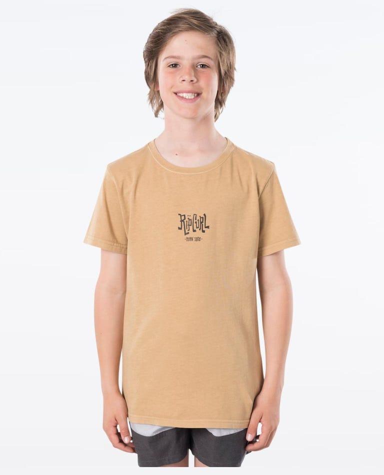 Scorched Logo Tee - Boy in Mustard