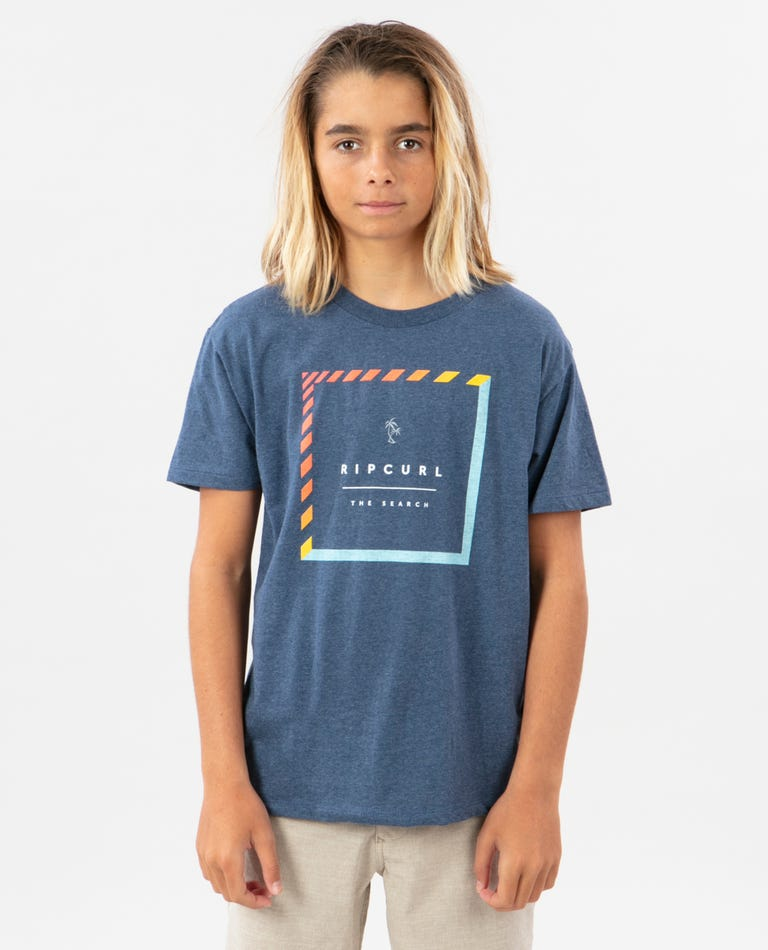 Boys Stacked Premium Tee in Navy