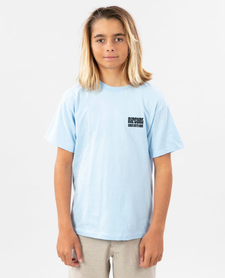 Boys Sixties Wave Premium Tee in Light Blue
