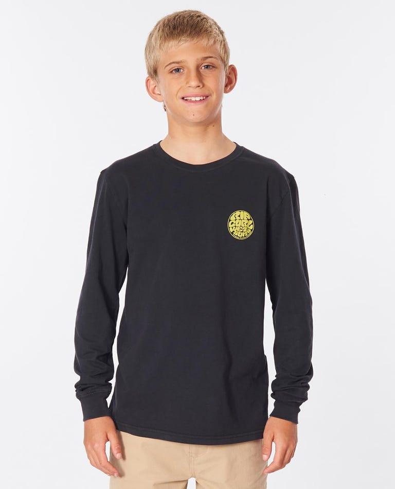 Wettie Logo Long Sleeve Tee Boys (8-16 years) in Washed Black