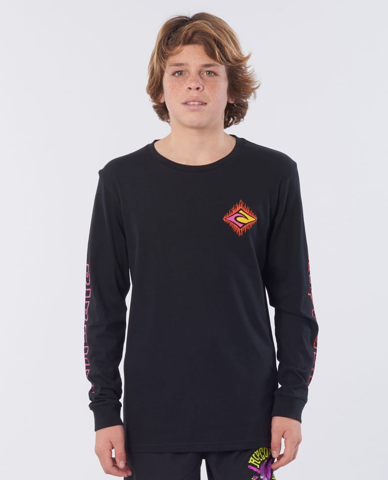 Scorch Long Sleeve Cotton Top- Boy in Black