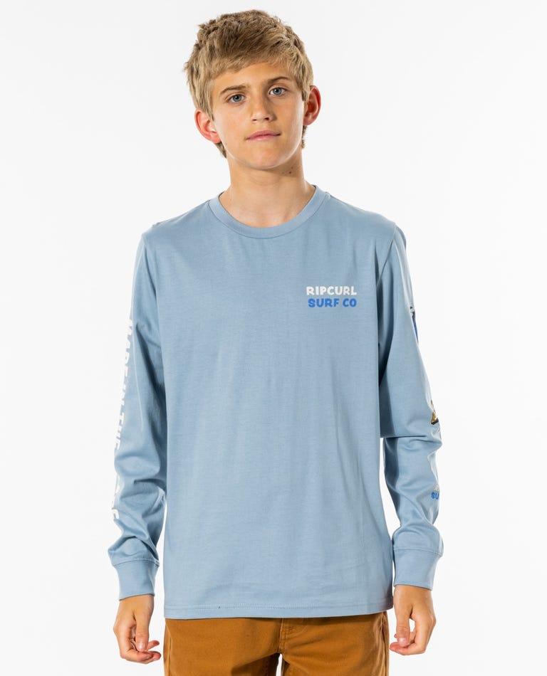 Mr Wavey Long Sleeve Tee - Boys (8-16 years) in Blue Gum
