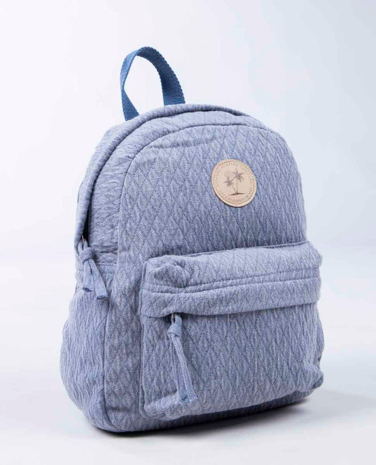 Jacquard Cotton Mini 10L Backpack in Slate Blue