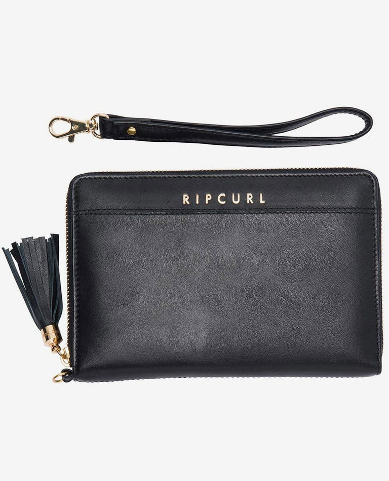 Essentials RFID Oversized Leather Wallet in Black