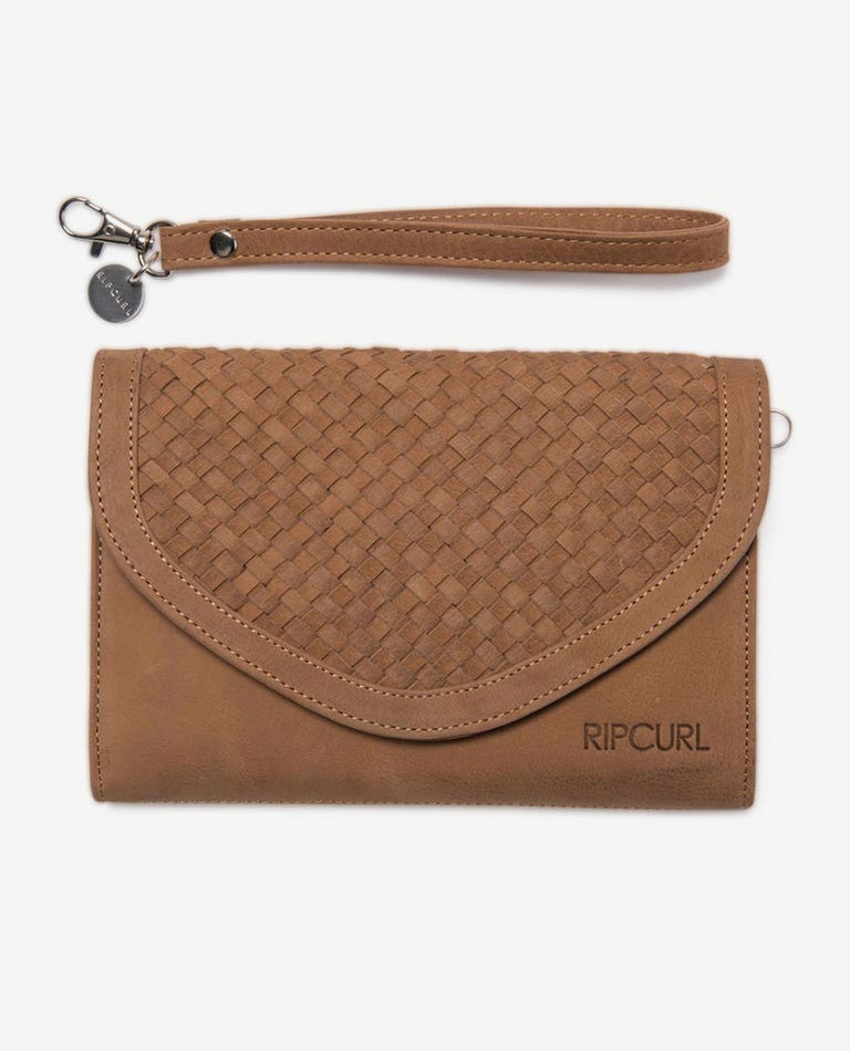 Basket RFID Protection Oversized Leather Wallet in Tan