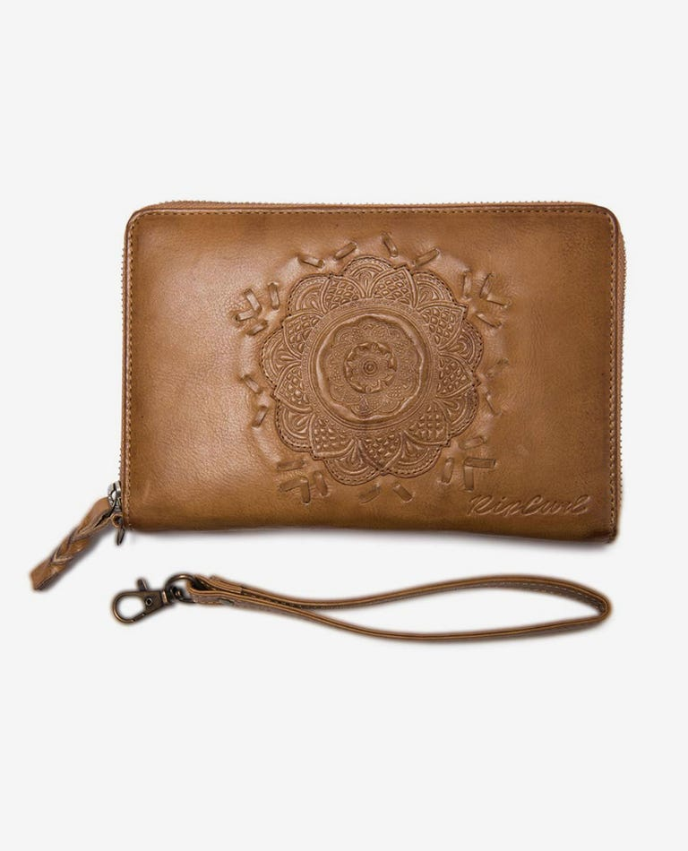 Saffron Skies RFID Protection Oversized Leather Wallet in Tan