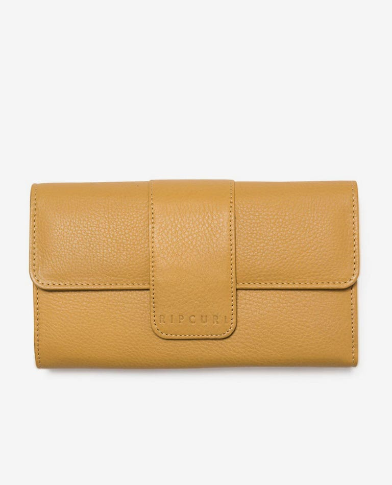 Coastal View RFID Protection Oversized Leather Wallet in Mustard