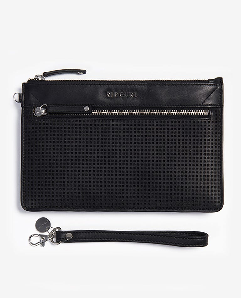 Montauk RFID Leather Clutch in Black
