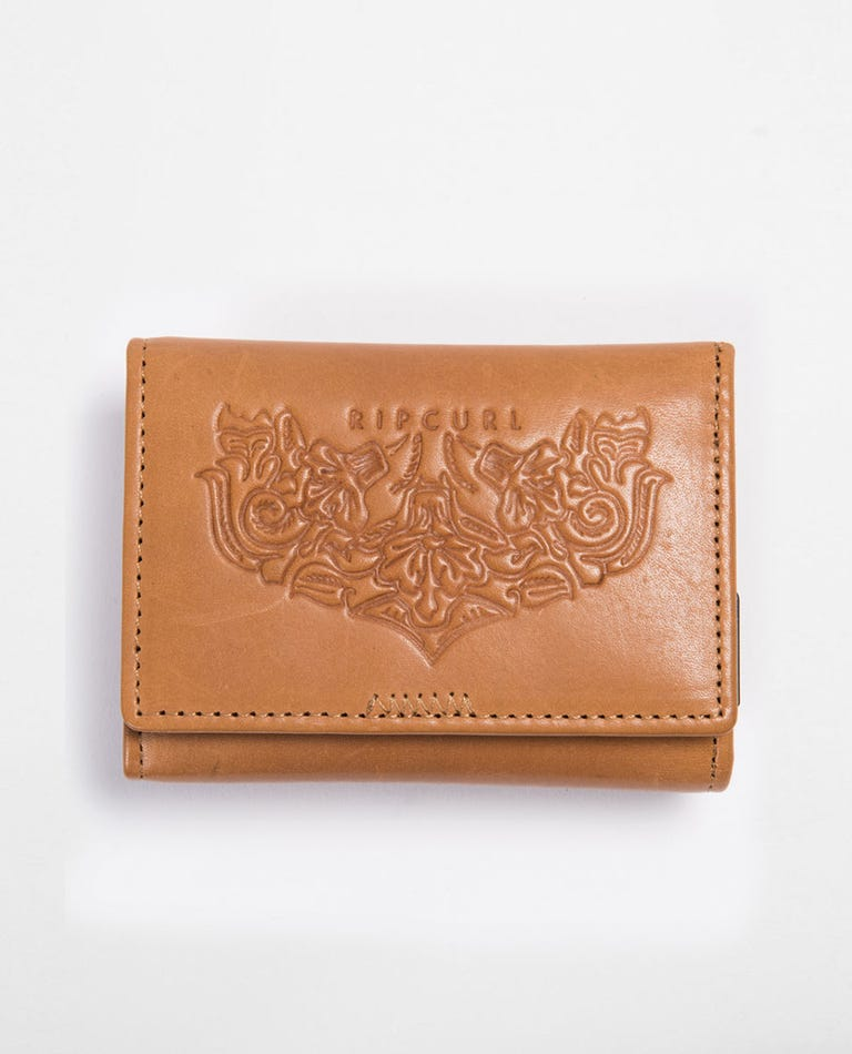 Navy Beach RFID Card Wallet in Vintage Tan