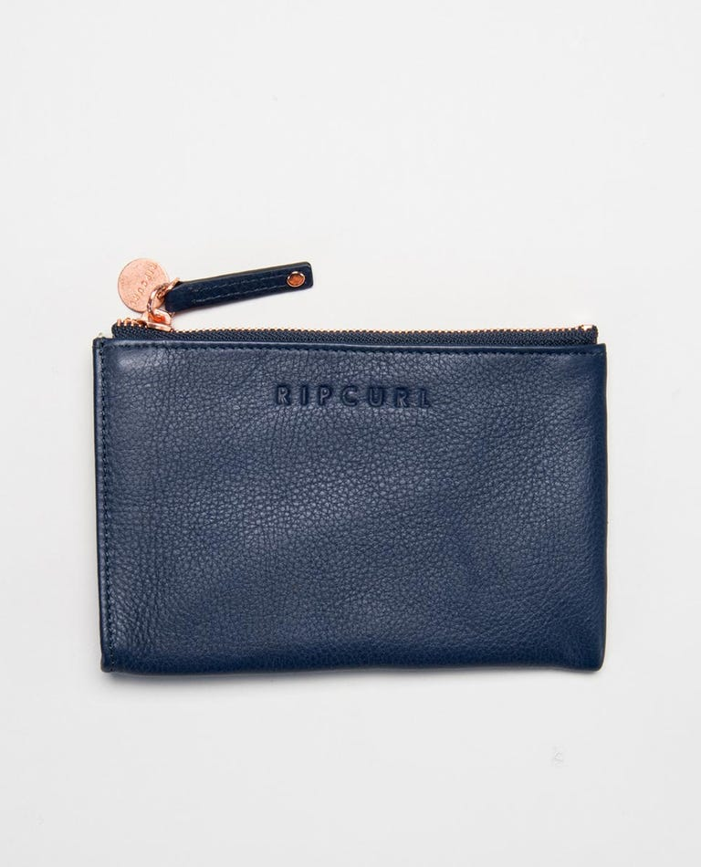Mini RFID Leather Coin Purse  in Navy