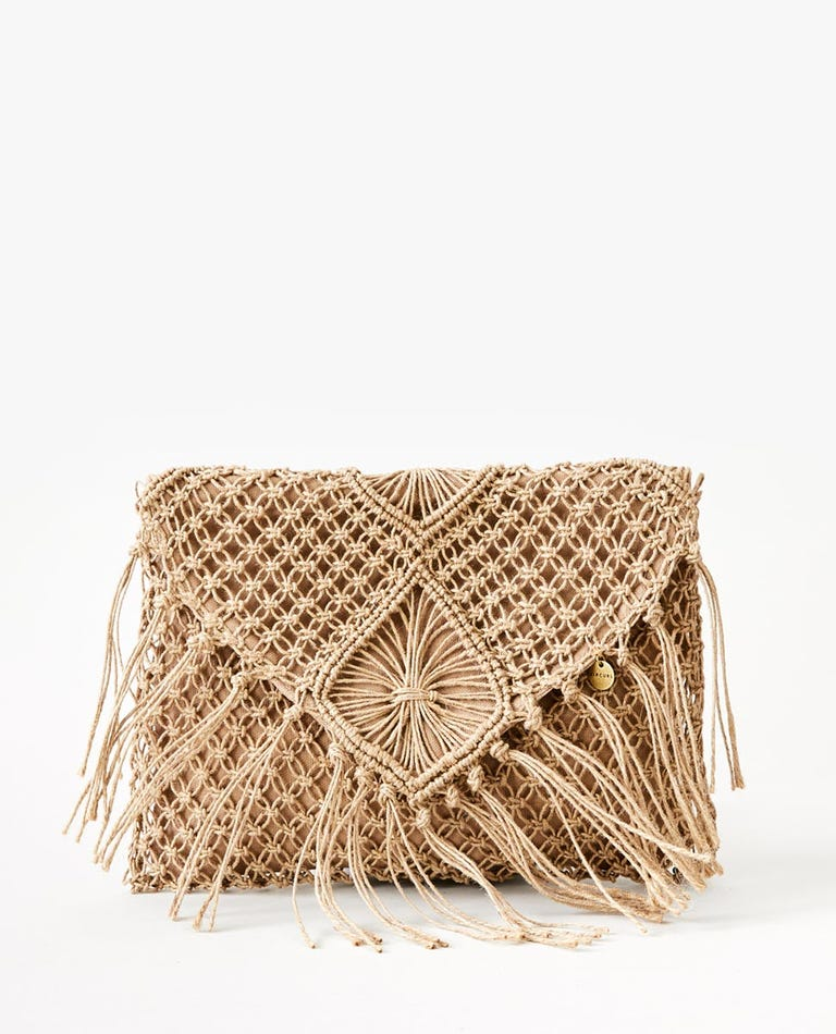 Paradise Plms Jute Clutch in Natural