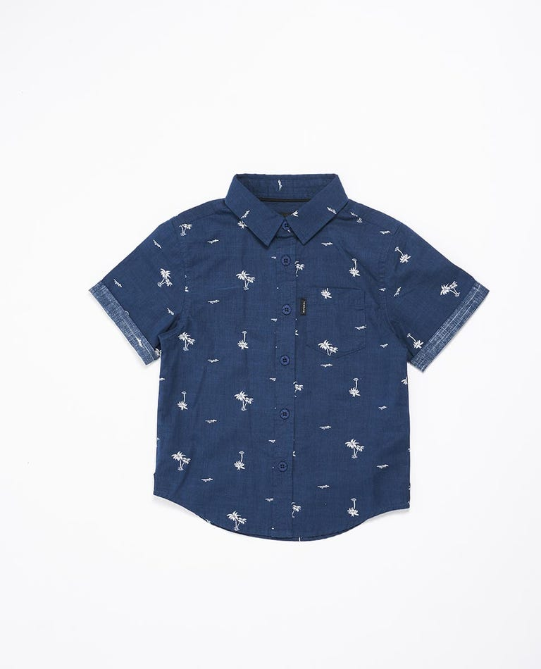 Summer Palm Short Sleeve Shirt Boys (0 - 6 years) in Navy
