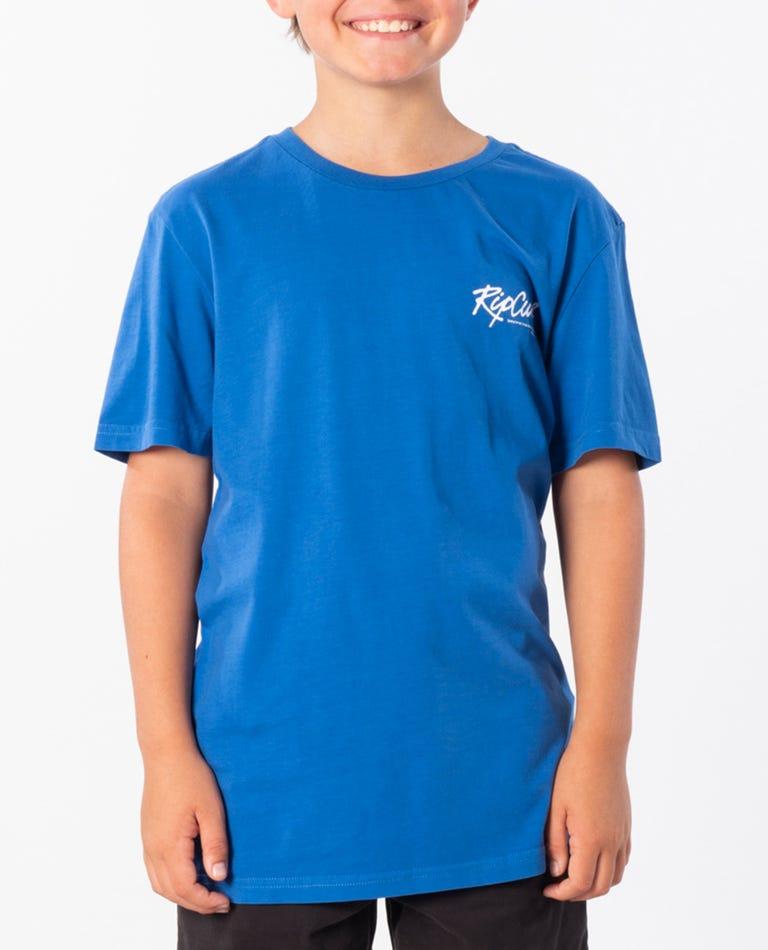 Beach Script Cotton Tee- Boy in Royal Blue