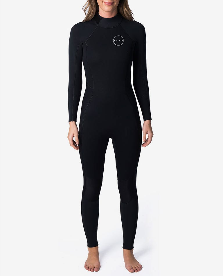 Peak Womens Energy 4/3mm GB Back Zip Wetsuit Steamer in Black/Black
