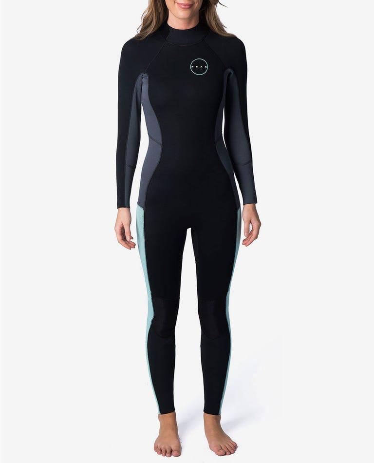 Peak Womens Energy 3/2mm GB Back Zip Wetsuit Steamer in Blue
