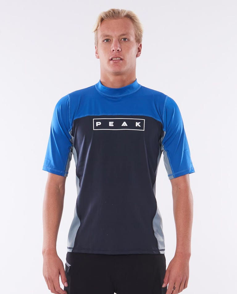 Mens Blocked Relaxed Short Sleeve Rash Vest in Charcoal Grey