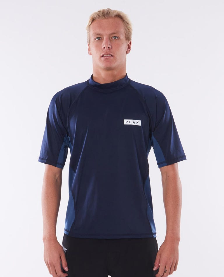 Mens Hartley Relaxed Short Sleeve Rash Vest in Navy