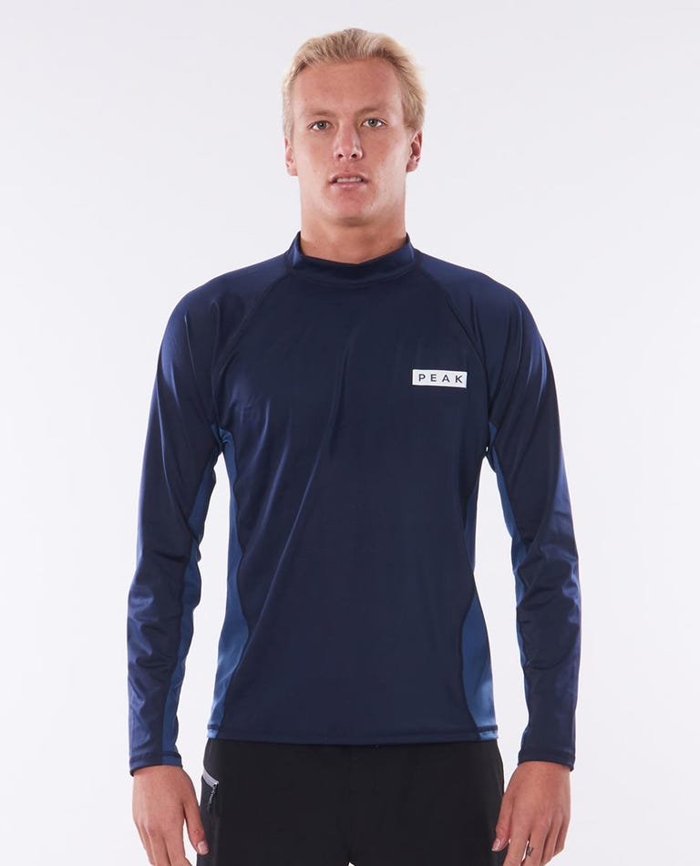 Mens Hartley Relaxed Long Sleeve Rash Vest in Navy