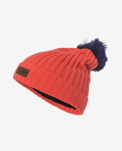 Pompom Junior Snow Beanie in Hot Coral
