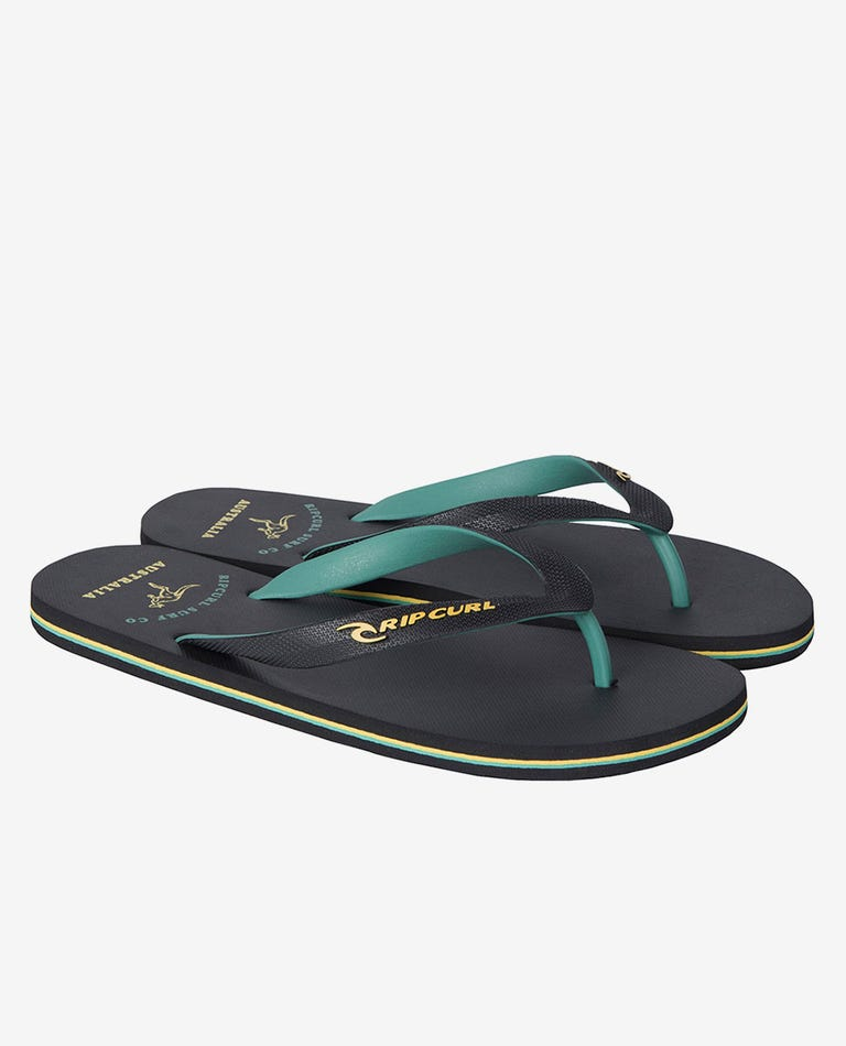 Down Under Thongs in Black/Gold