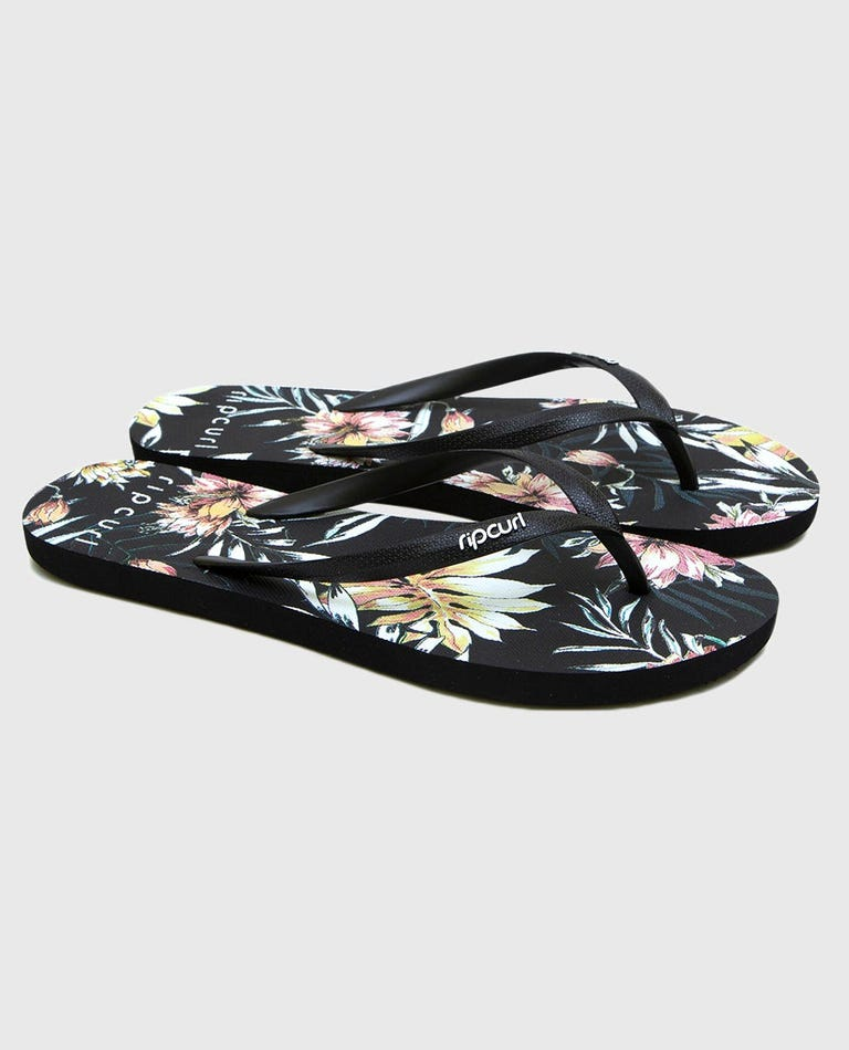 Coastal Palms Sandals in Black