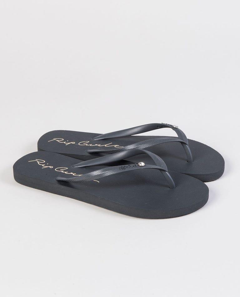 Script Wave Thongs in Charcoal Grey