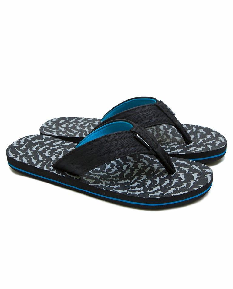 Ripper Kids Sandals in Black/Grey/Blue