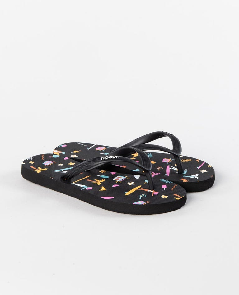 Sweet Summer Girls Thongs in Black/Pink