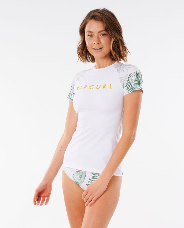 Womens Coastal Palms Short Sleeve UV Tee in White