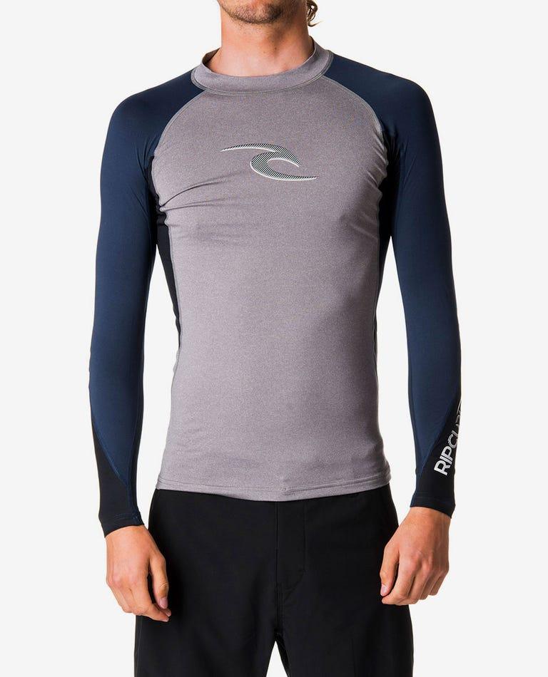 Wave Long Sleeve Rash Guard in Grey