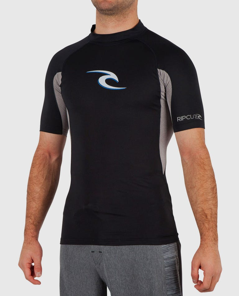 Wave Short Sleeve Rash Guard in Black