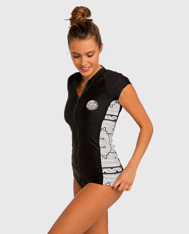 Hanna Cap Sleeve Rash Guard in Black/White